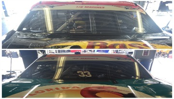 Windshields of Ty Dillon and Brandon Jones featuring the 1st Battalion, 2nd Marines and 3rd Battalion, 2nd Marines.