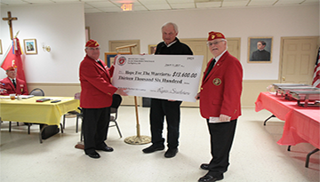 Photo Caption (left to right): MCL 260 Vice Commandant, Jim Hayes, Hope For The Warriors Board Chairman, Jack Marin and MCL 260 Commandant, Roger Stockton.