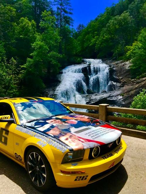 Fallen heroes and service members honored on the hood of one team's rally car parked at a waterfall checkpoint in Tellico Plains, TN. For more Rally Appalachia 2 photos and video, visit http://bit.ly/2tI46zK