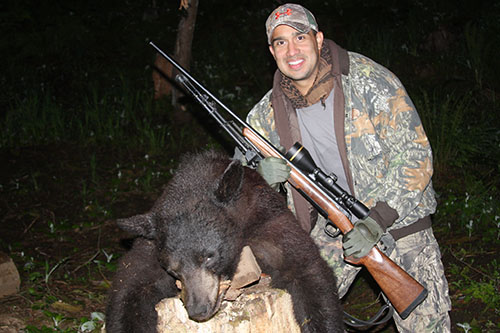Texas based Army veteran Raymond Soto harvests one of the largest bears of the season.