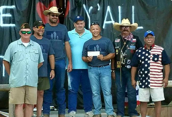 Scott Fruge (VFW), Barry Cox (VFW), Randy Helmberger (KofC), Bill Mulchay (KofC) Gus Cabarcas, community development manager at Hope For The Warriors, Frank Prigmore Wounded Heroes Benefit Concert organizer and Tony Huertas.