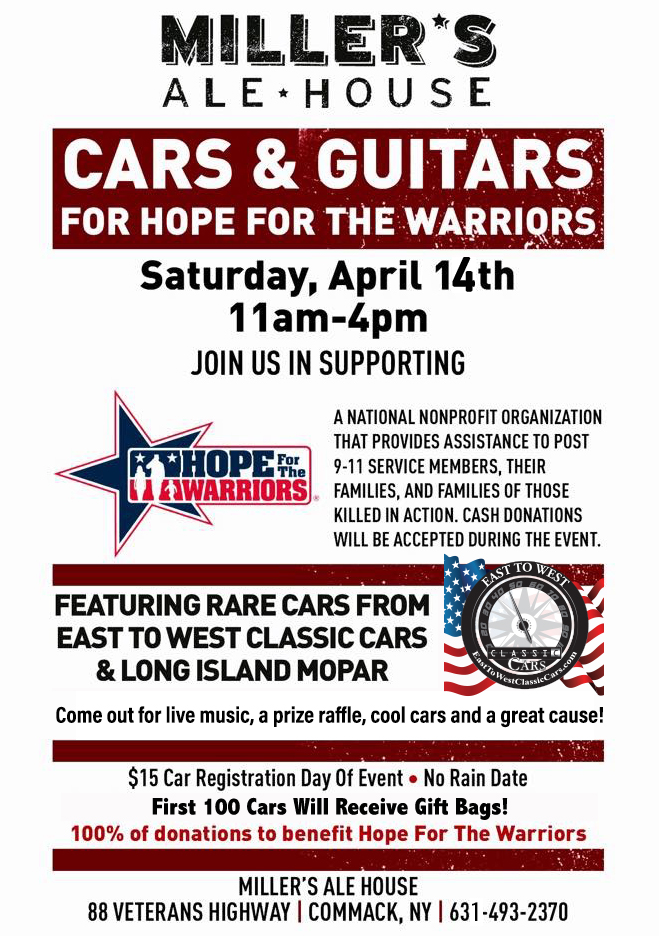 Cars & Guitars For Hope For The Warriors @ Miller's Ale House