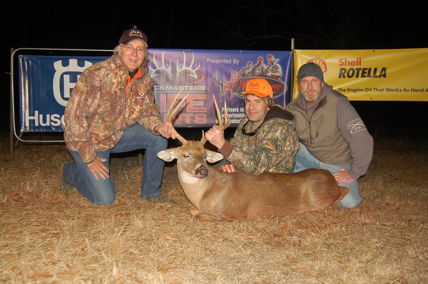 (Left to Right) Buckmasters CEO Jackie Bushman, Army veteran Patrick Julian and with his buck and Hope For The Warriors Director of Outdoors Adventure Ken Sutherby at the 26th annual Buckmasters Life Hunt. For more photos, visit: http://bit.ly/2nwr8s7