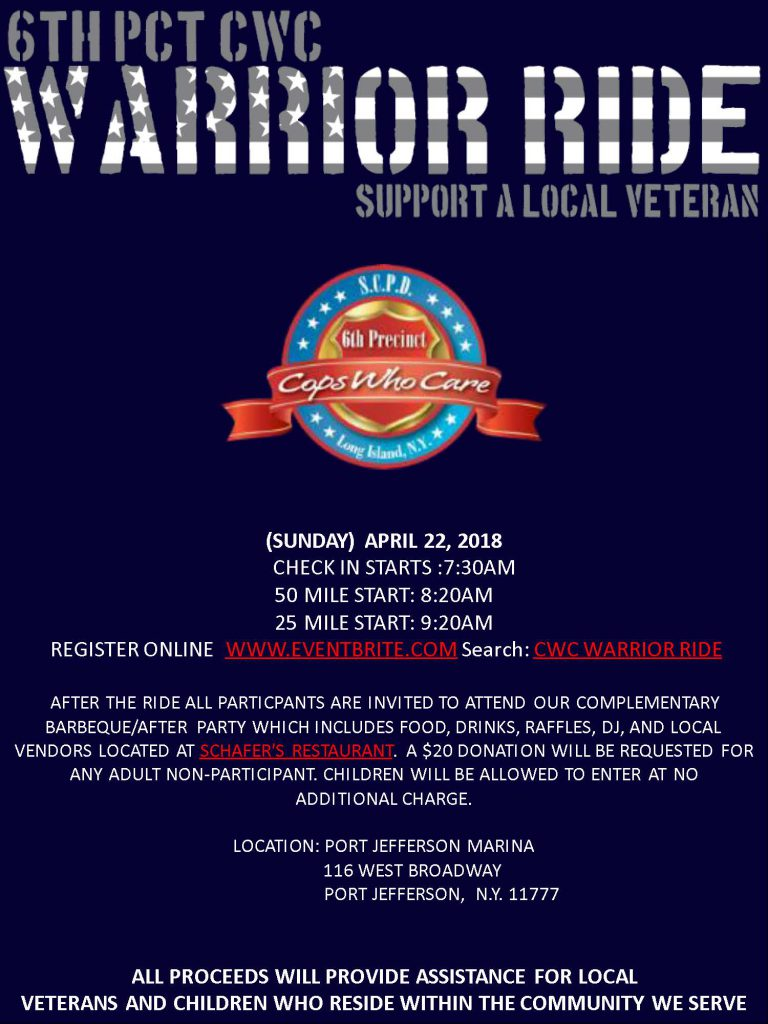 6th Precinct CWC Warrior Ride @ Port Jefferson Marina