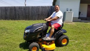 Army Sergeant First Class Vaitogi Taetuli aboard his new riding lawnmower courtesy of Hope For The Warriors and its A Warrior's Wish program. For more photos please visit: https://bit.ly/2vq3aWO