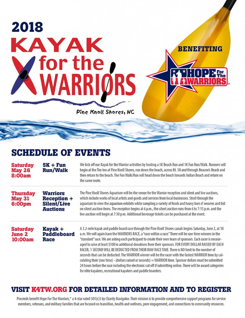 KAYAK FOR THE WARRIORS - Warriors Reception + Silent/Live Auctions @ NC Aquarium at Pine Knoll Shores