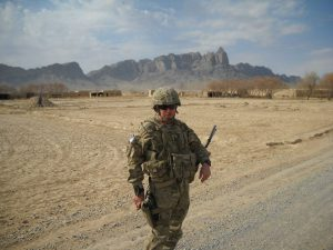 Trost in the Village of Robat in Afghanistan where he was shot with a machine gun