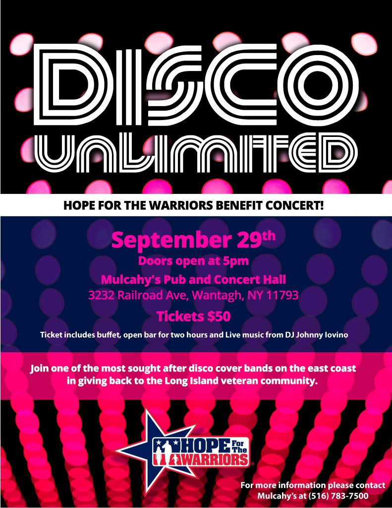 Cancelled - Disco Unlimited Benefit Concert @ Mulcahy's Pub & Concert Hall