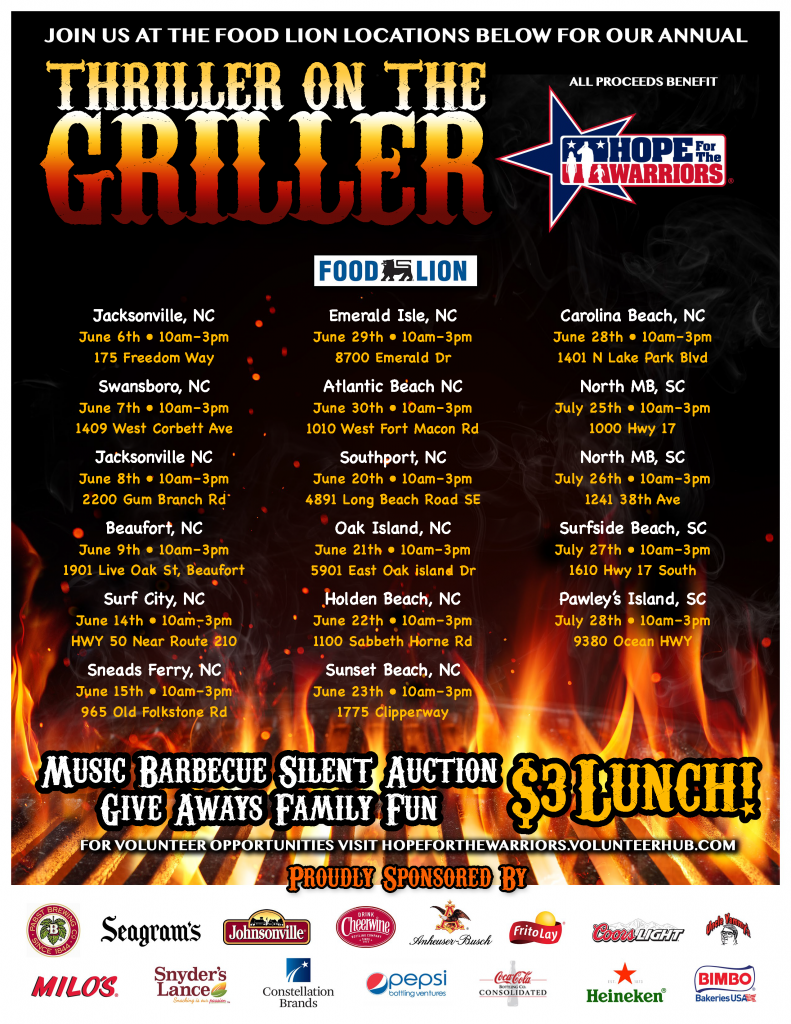 Food Lion Thriller on the Griller for Hope For The Warriors Store 349 @ Food Lion Store #349